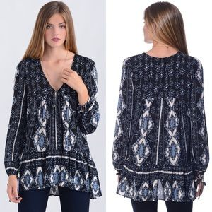 Free People 60s Down by the Bay Tunic Bohemian Top
